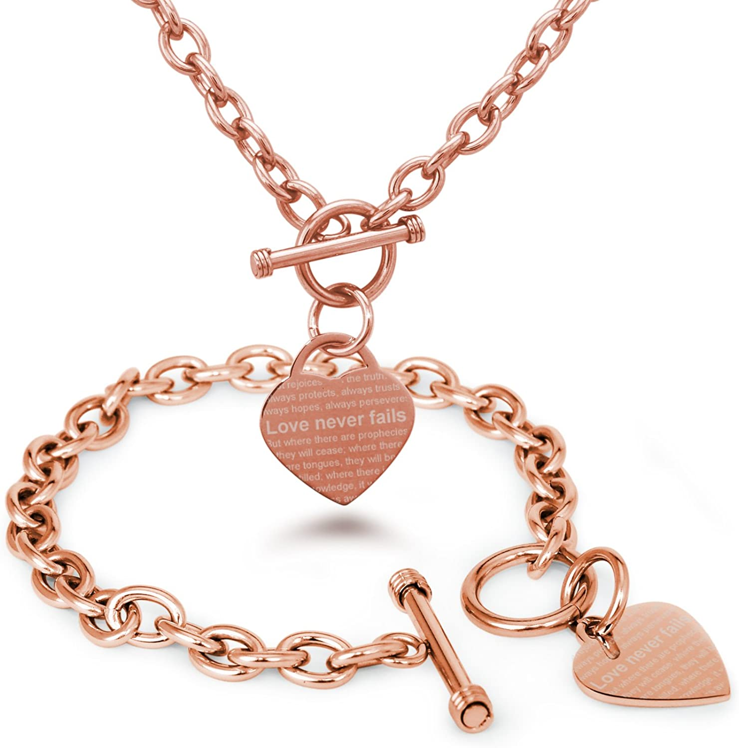 Tioneer Rose Gold Plated Stainless Steel Love Never Fails 1 Corinthians 13: 6-8 Heart Charm, Bracelet and Necklace Set