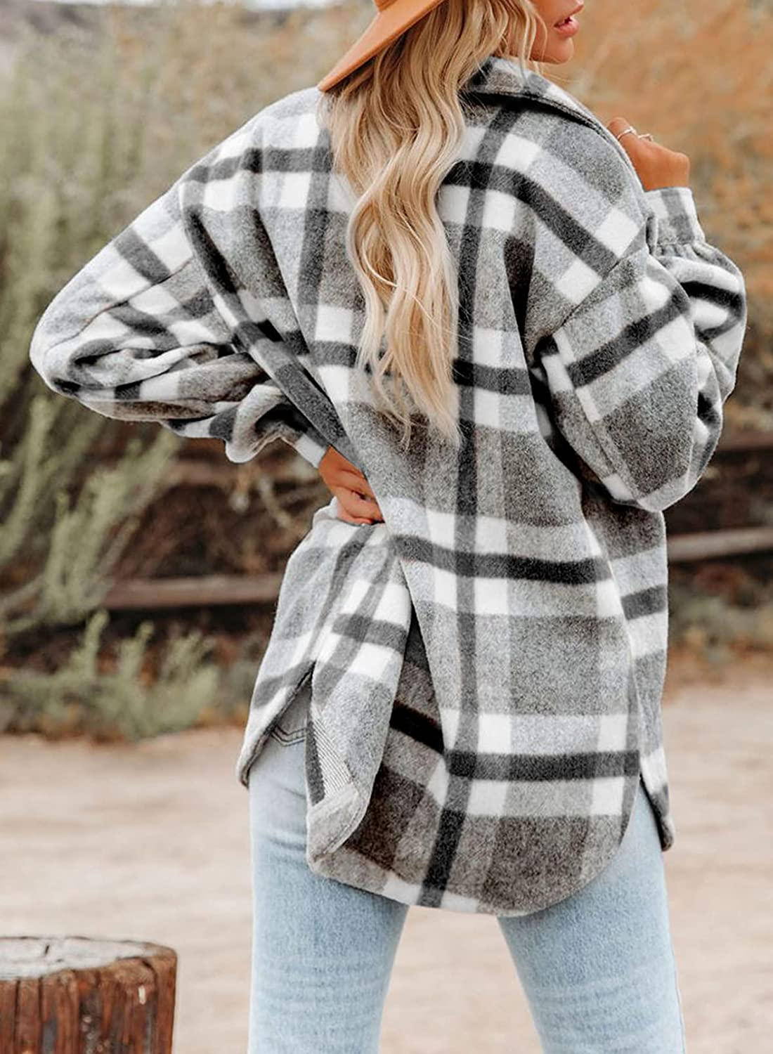 Dokotoo Womens Casual Plaid Button Down Long Sleeve Shirts Flannel Shacket Jacket Coats at  Women's Clothing store