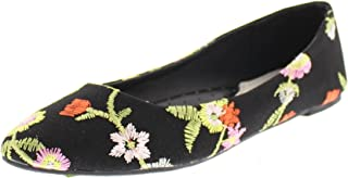 Women's Lois Dressy Floral Embroidered Ballet Flat Pump No Heel Pointed Toe Slip On Comfort Shoe