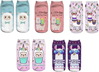 Astra Gourmet 5 Pair Funny Crazy Colorful Alpaca Ankle Socks, Cute Colorful Cartoon Low Cut Socks for Women Girls Value Pack(Style-3)