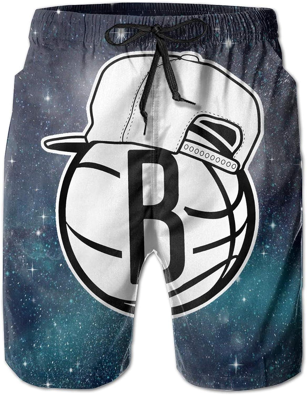 7bc532f060 Mens Mens Mens Slim Fit Brooklyn-Nets-logo33 Quick Dry Short Swim Trunks  34d208