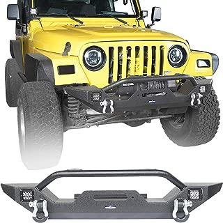 Hooke Road Offroad Steel Front Bumper w/Winch Plate & LED Lights for 1997-2006 Jeep Wrangler TJ LJ