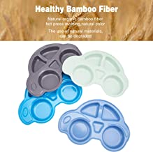 4pcs Bamboo Divided Plates for Baby Feeding, Non Toxic & Safe Toddler Plates, Eco-Friendly Tableware for Baby Toddler Kids Bamboo Toddler Dishes & Dinnerware Sets, Car Plates
