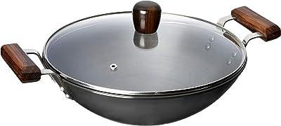 Amazon Brand - Solimo Hard Anodized Aluminium Kadhai with Glass Lid, 26 cm (Induction Bottom), Black