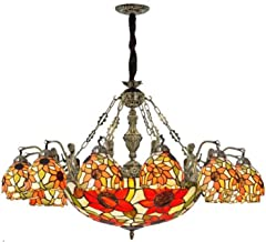 Pastoral Sun Flower Hanging Pendant Lamp Multi-Arm Tiffany Style Retro Stained Glass Chandelier for Living Room Bedroom St...