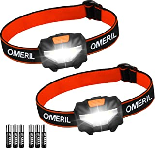 OMERIL Linterna Frontal LED (2 Pack), Super Brillante