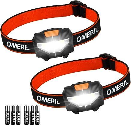 Linterna Frontal (2 Pack) OMERIL Linterna Cabeza, Super Ligera (43g), 3 Modos de Luz, IP44 Impermeable, 150 Lúmenes Frontal LED para Correr, Caminar, Acampar, Pescar, Niños (6 Pilas AAA Incluidas)