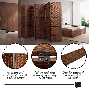 JAXPETY 6-Panel Weave Fiber Room Divider in Vintage Style, Folding Freestanding Partition Privacy Screen for Living Room Bedr