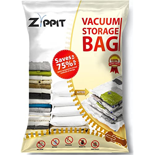 Vacuum Storage Bags by Zippit, Extra Large 100x80cm Space Savers. Best For Clothes, Bedding, Duvets, Towels, Curtains and More. 6 Pack.