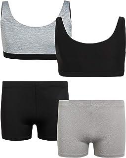 مجموعة ملابس رياضية للبنات فقط - مجموعة من حمالة صدر وشورت قصير للتدريب والدراجات الرياضية للأطفال (4 قطع)