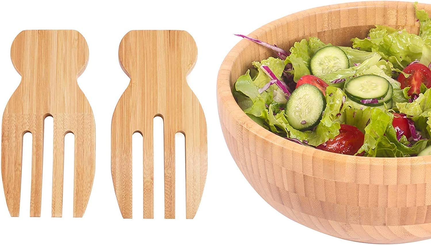 Popular standard Bamboo Salad Bowl with Tongs Large Serving Sale Special Price for 10inch Frui