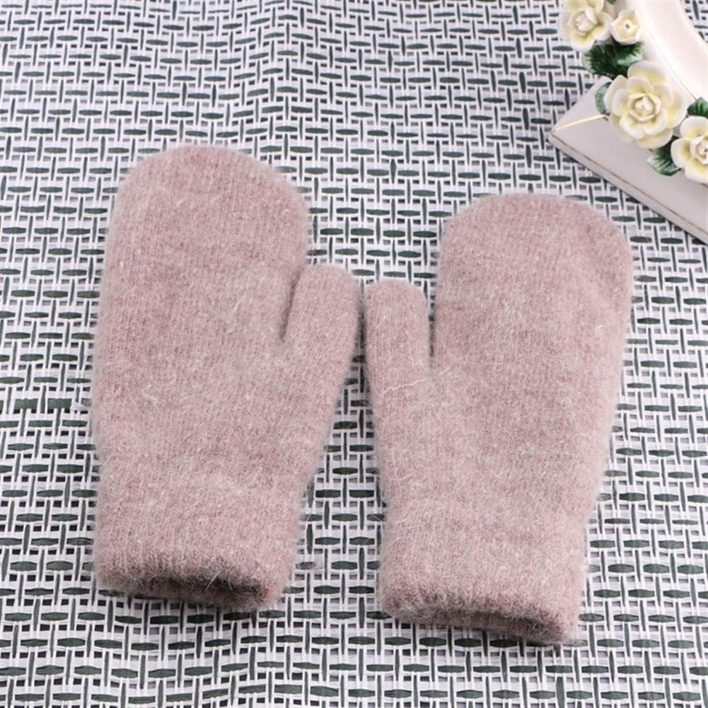 Winter Gloves Winter Gloves Women's Knit Bike All Fingers Warm Thick Men's Gloves (Color : Pink, Size : One Size)