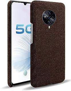 """GUANHAO Vivo S6 5G ケース、超薄型 スタイリッシュ 滑り止め 耐衝撃性 指紋防止 フェルトクロス シンプルでエレガントなカラー に適し Vivo S6 5G 6.44"""" - 褐色"""