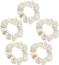 Kitsch Pro Satin Scrunchies, Hair Scrunchies for Frizz Prevention, Satin Hair Ties for Breakage Prevention and Gentle Style Preservation, 5 Pack, Ivory