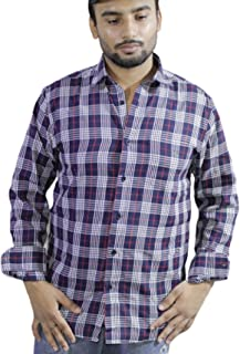 Spanish One Look Mens Casual Long Sleeve 100% Cotton Regular Fit Button Down Casual Shirts Dress in Dark Blue Printed Check Shirt for Men