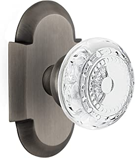 """(antiquepewter, 2-3/8"""") - Nostalgic Warehouse Meadows Passage Door Knob with Plate"""