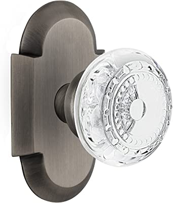 Nostalgic Warehouse 753340 Cottage Plate with Crystal Meadows Knob Double Dummy, Surface Mounted, Antique Pewter