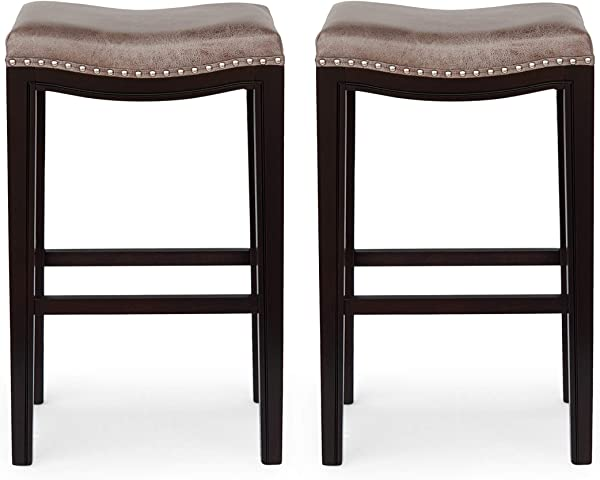 Spring Contemporary Studded Fabric Bar Stool Set Of 2 Gray Dark Brown And Silver