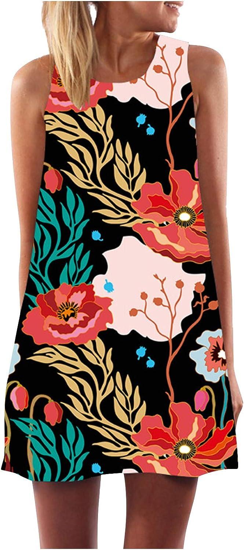 Women's Tank Vest Dress Summer Casual Loose Creative Printed Crewneck Sleeveless Mini Dress Floral Rompers