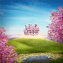 CSFOTO 5x5ft Background for Dreamy Castle Meadow Photography Backdrop Fairy Tale Romantic Childhood Princess Flower Tree Birthday Party Decor Child Kid Portrait Photo Studio Props Wallpaper
