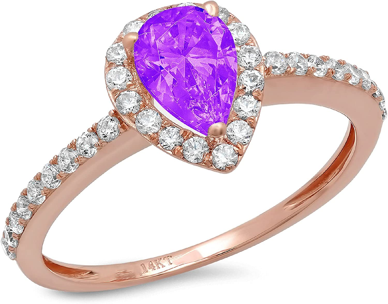 1.22ct Brilliant Pear Cut Solitaire with accent Natural Purple Amethyst Gem Stone Ideal VVS1 Engagement Promise Anniversary Bridal Wedding Ring Real 14k Rose Gold