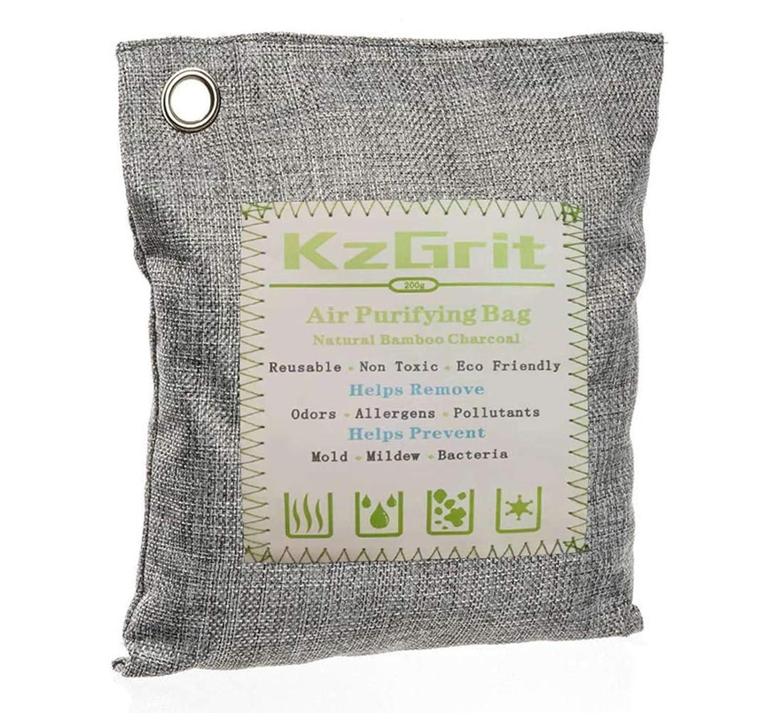 笑い笑いオーバーランKzGrit 竹炭バッグ 消臭 除湿 200g 脱臭剤 空気清浄 無毒 無香料 繰り返し使用可能 環境にやさしい 車内、ペットエリア、部屋、クローゼット、梅雨など湿気の多い季節などで使用可能(グレー)