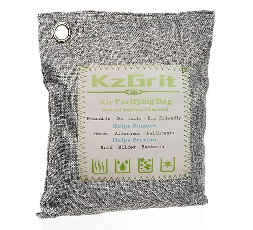 泥だらけだらしない一貫性のないKzGrit 竹炭バッグ 消臭 除湿 200g 脱臭剤 空気清浄 無毒 無香料 繰り返し使用可能 環境にやさしい 車内、ペットエリア、部屋、クローゼット、梅雨など湿気の多い季節などで使用可能(グレー)
