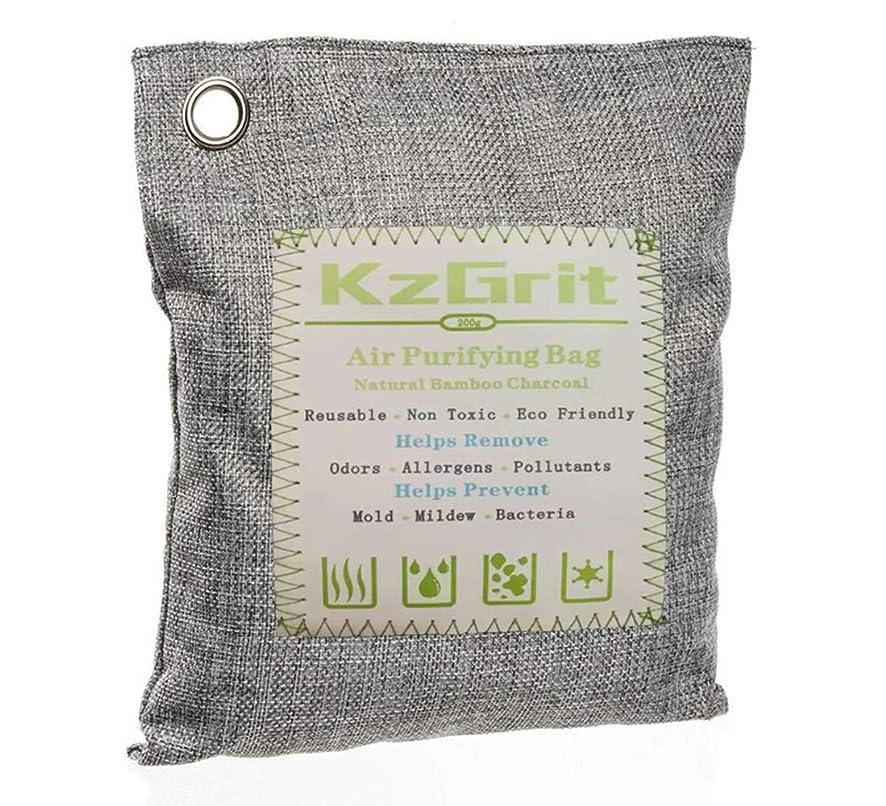姿勢役割きしむKzGrit 竹炭バッグ 消臭 除湿 200g 脱臭剤 空気清浄 無毒 無香料 繰り返し使用可能 環境にやさしい 車内、ペットエリア、部屋、クローゼット、梅雨など湿気の多い季節などで使用可能(グレー)