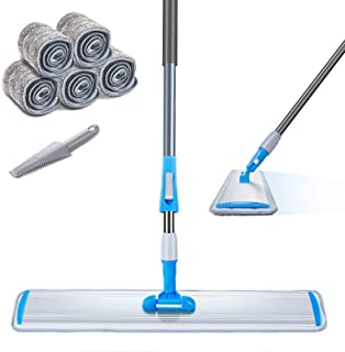 "Large Area Mop 24"" Microfiber Flat Mop with 3 Mop Pads Heavy Duty Floor Mop with Stainless Steel Handle Masthome"