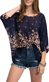 Milumia Women's Florals Batwing Sleeve Button Back Chiffon Blouse