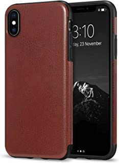 TENDLIN Compatible with iPhone Xs Case/iPhone X Case Premium Leather Outside and Flexible TPU Silicone Hybrid Slim Case (B...