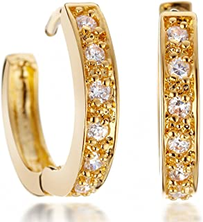 Gemini Women's 18K Yellow Gold Filled Hoop Swarovski Crystal Huggie Earrings for Ladies Gm068