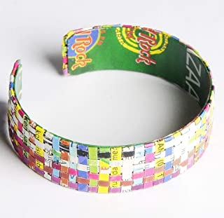 Medium woven paper bracelet - FREE SHIPPING - recycled art bracelets magazine bangles bangle quilled Fair trade ethical fun present presents inspiring alternative ideas functional beautiful