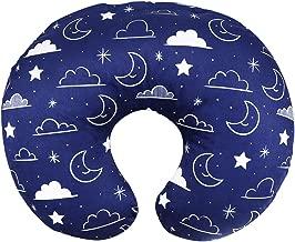 Minky Nursing Pillow Cover/Nursing Pillow Slipcover Soft Fits Snug On Infant Nursing Breast Feeding Pillows (Navy Blue, Stars and Clouds)