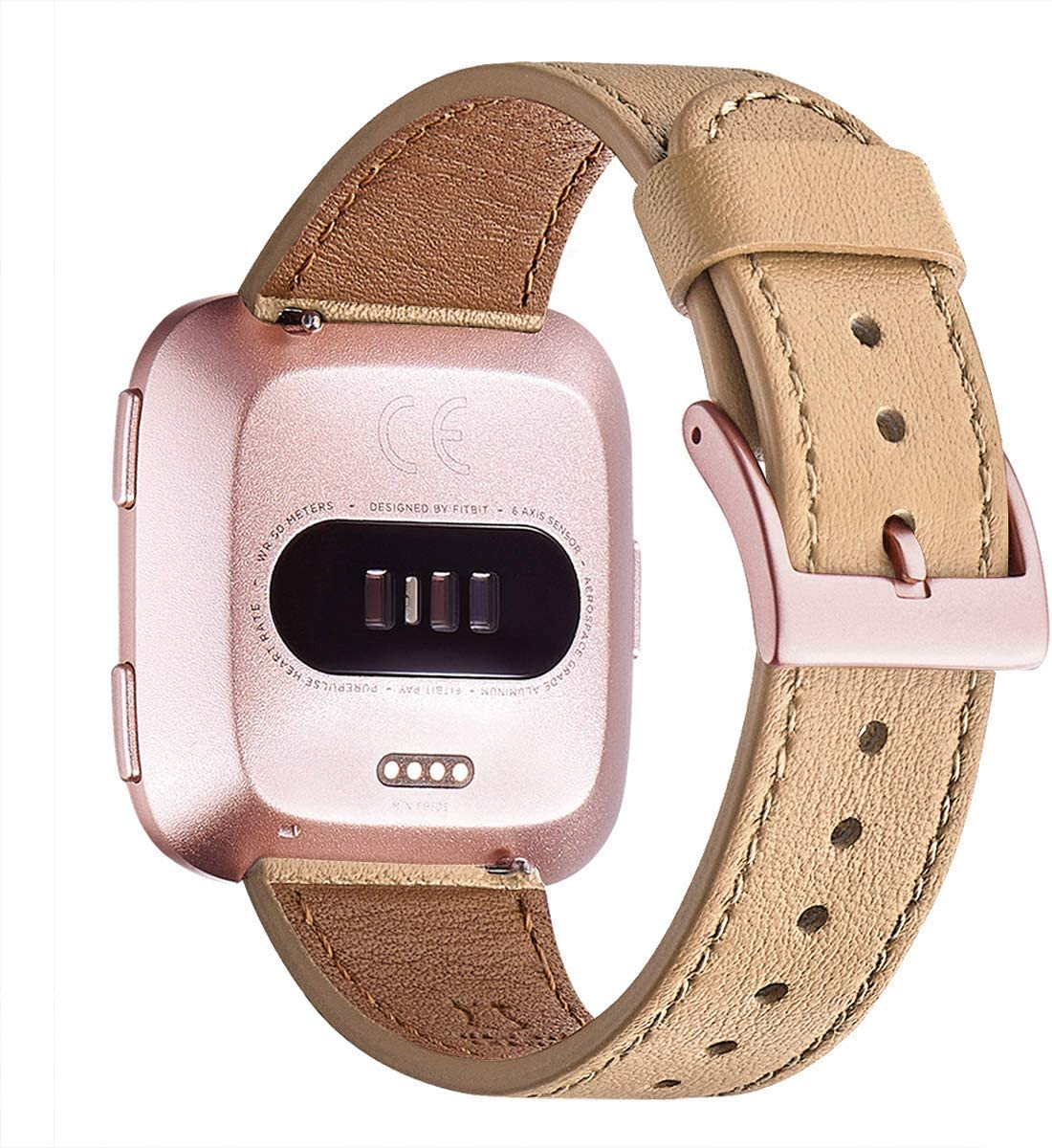 WFEAGL For Versa Band, Top Grain Leather Band Replacement Strap for Versa /Versa 2 /Versa Lite /Versa SE Fitness Smart Watch(Camel Band+Rose Gold Buckle)