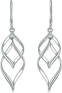 18K Gold Plated Classic Twist Wave Sterling Silver Post Dangle Earrings for Women Girls