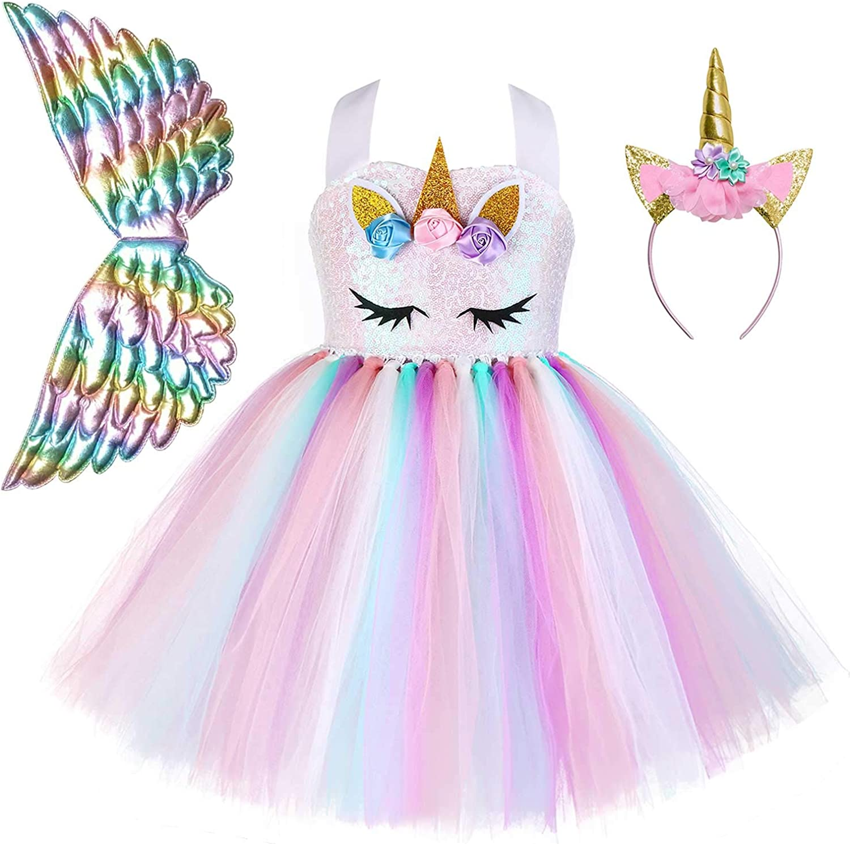 Arlington Mall QPANCY Girls Unicorn Dresses Princess Ruffle Outfit Selling and selling Tutu Pageant
