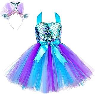 Aislor Enfant Fille Fleur 3D Robe Princesse Sirène Carnaval Halloween Etoile de Mer Tutu + Bandeau Anniversaire Photograph...