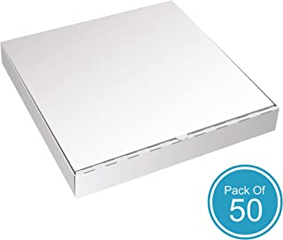 White Cardboard Pizza Boxes by HTTP - 16 x 16 Pizza Box Size, Corrugated, Kraft – 50 Pack