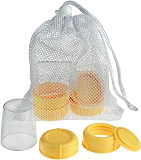Medela Spare Parts for Breast Milk Bottles, Extra Caps, Lids, Collars, and Discs, Includes Convenient Mesh Bag for Easy Washing, Bottle Spare Parts Made Without BPA