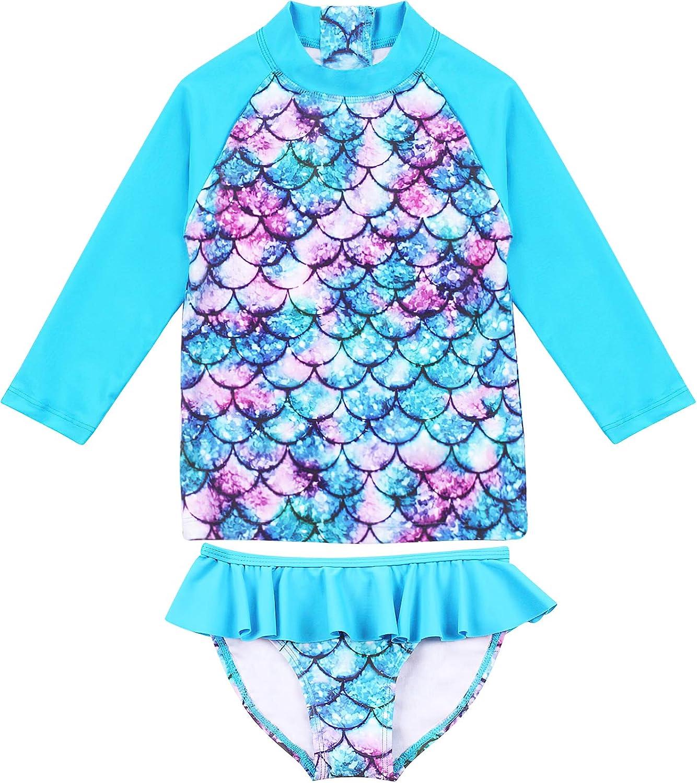 TOKI JJANG Baby San Antonio Mall Toddler Girls Long-Sleeve Swim OFFicial mail order Rashguard 2-Piece
