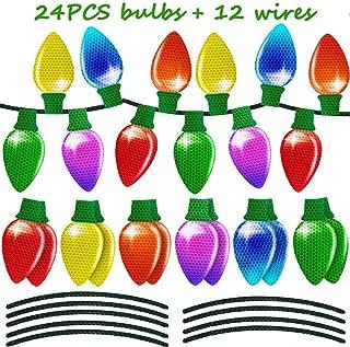 24PCS Christmas Car Refrigerator Decorations Reflective Bulb Light Magnet Accessories Set Xmas Holiday Cute Decor