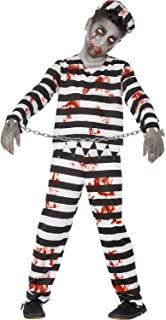 Boys Girls Teens Dead Zombie Bloody Black White Striped Prisoner Convict Prison Jail Halloween Fancy Dress Costume 4-14 Years
