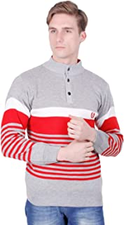 Dynamics A Fashion Striped Full Sleeve High Neck Tich Button Regular Casual Wear Woolen Sweater for Men Regular Fit - Mult...