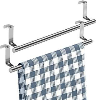 """Mosuch Stainless Steel Over Door Towel Rack, 14"""" Bar Holders fit for Cabinet Cupboard Doors to Hold Hand and Dish Towels 2..."""