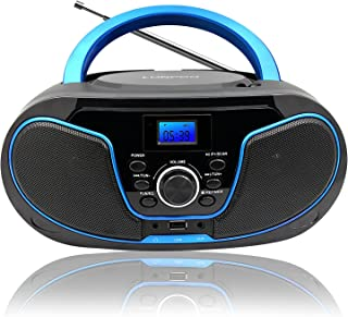 CD Player Boombox, LONPOO Portable Bluetooth FM Radio Stereo Sound System with Crystal-Clear Sound, MP3 Playback, USB Por...