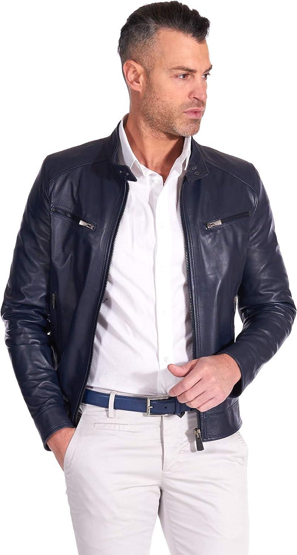 Blue navy nappa lamb leather biker jacket smooth effect