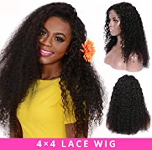 Curly Lace Front Wigs Long Human Hair Lace Front Remy Hair Wigs For Women Pre Plucked 4x4 Closure Wigs Natural Black Kinky Hair Wigs By Halo Lady 22 inch