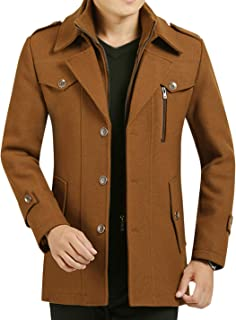 CrazyDay Mens Bussiness Winter Keep Warm Wool Blend Stand Collar Casual Anorak Jacket