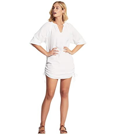 Seafolly Textured Cotton Cover-Up (White) Women